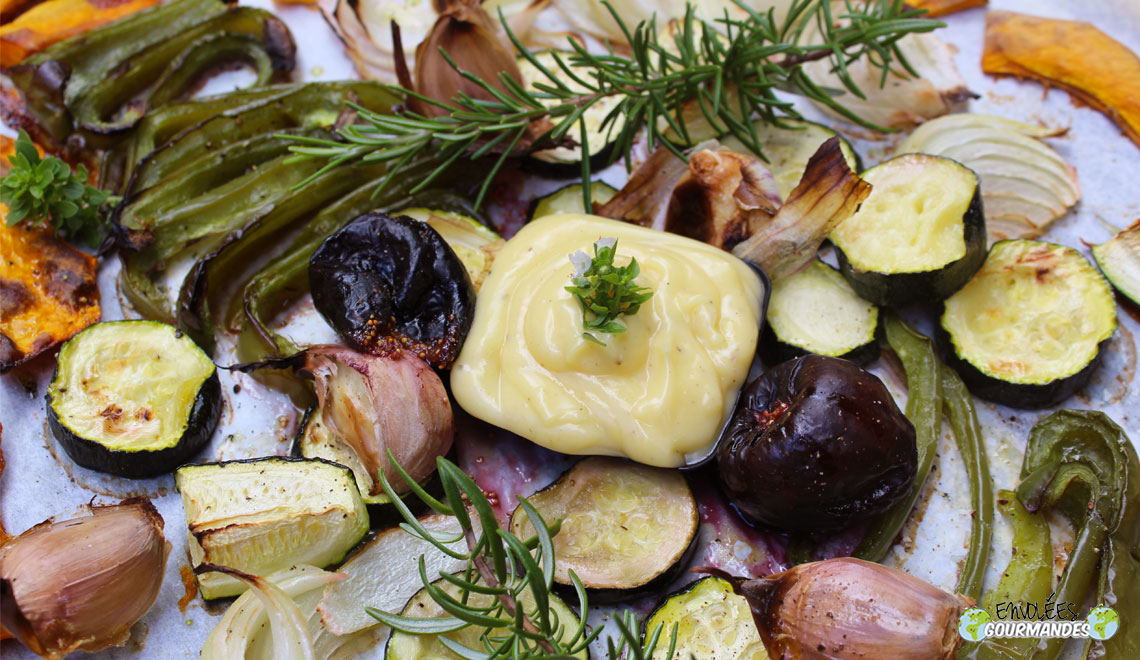 Vegetables and oven-roasted figs with their mayonnaise