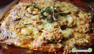 Lasagne mit gegrilltem Gemüse für einen jungen Mann