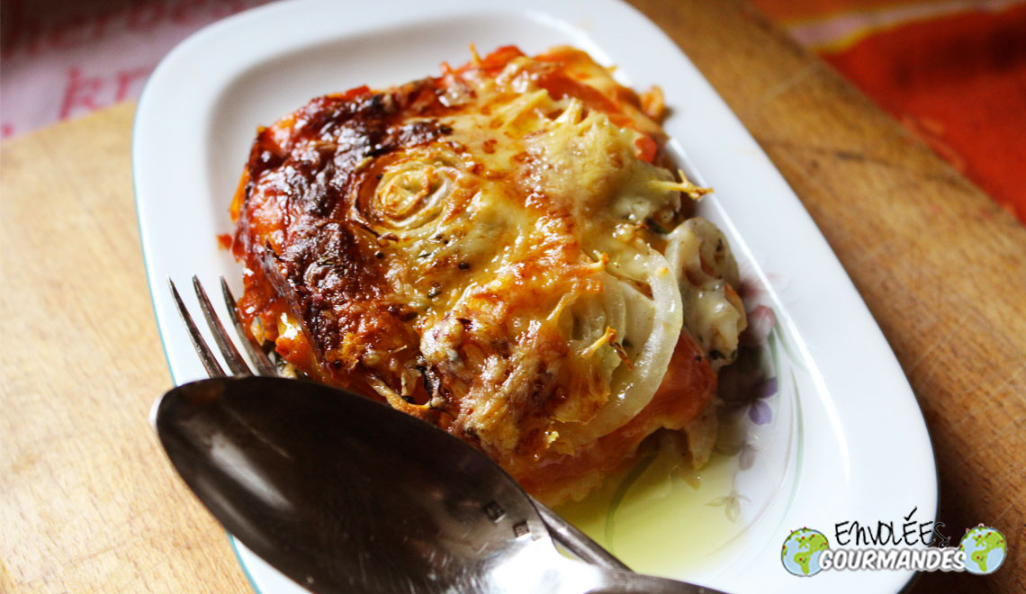 Lasagna with grilled vegetables for a young man