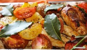 Poulet-tomates-laurier-moutarde-riz-oignons-ail