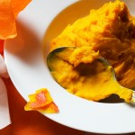 Mashed pumpkin (color on my plate)