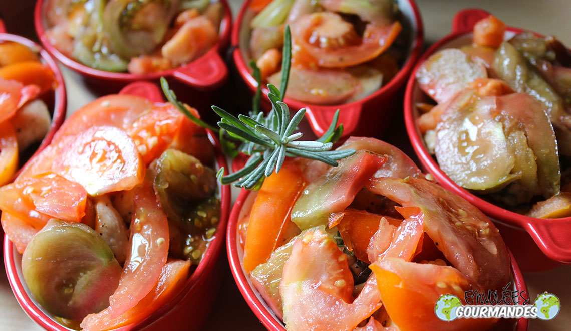 Cassolettes de Potimarron, tomato and turkey with lavender