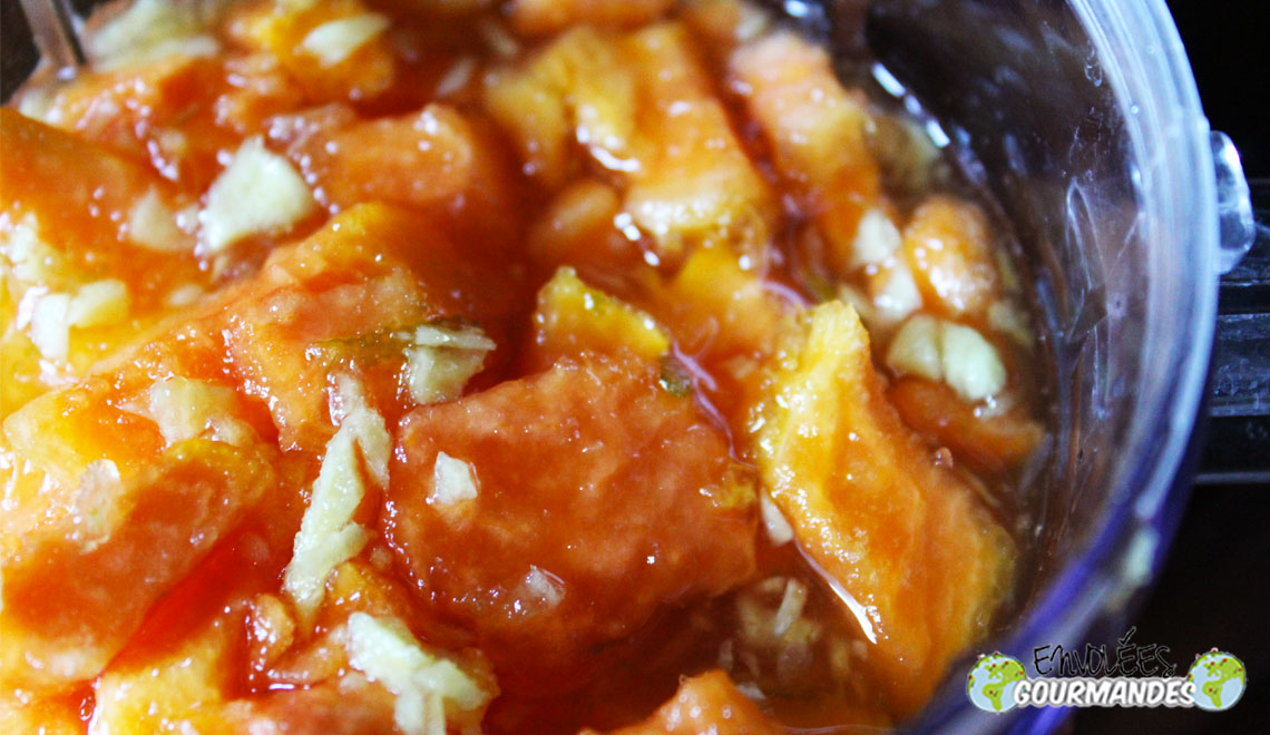 ripe papaya jam with ginger