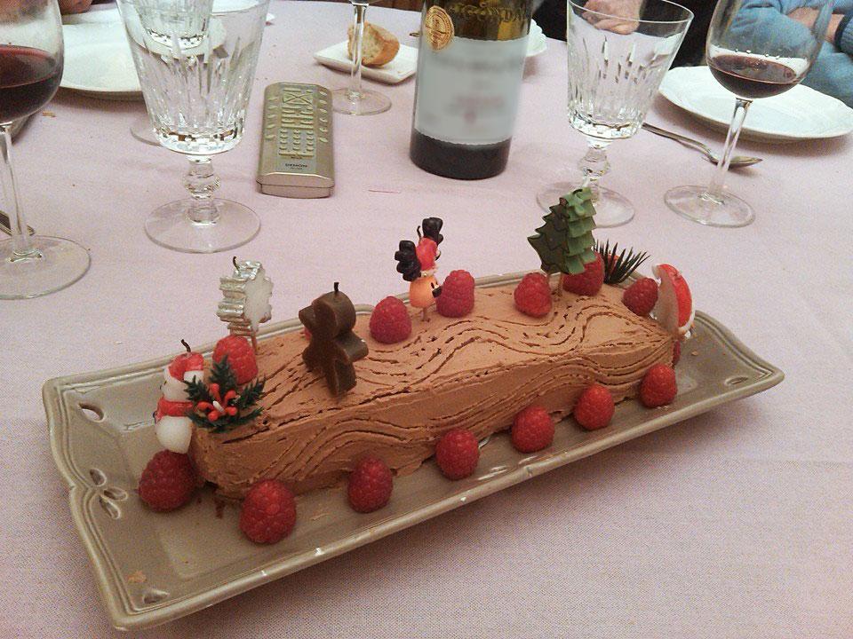 bûche-Noël-chocolat-praliné-framboise