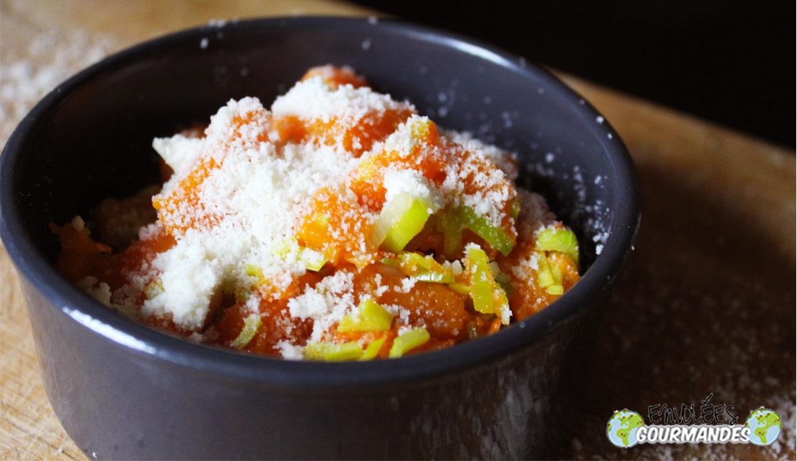 Zucca e porri parmigiano