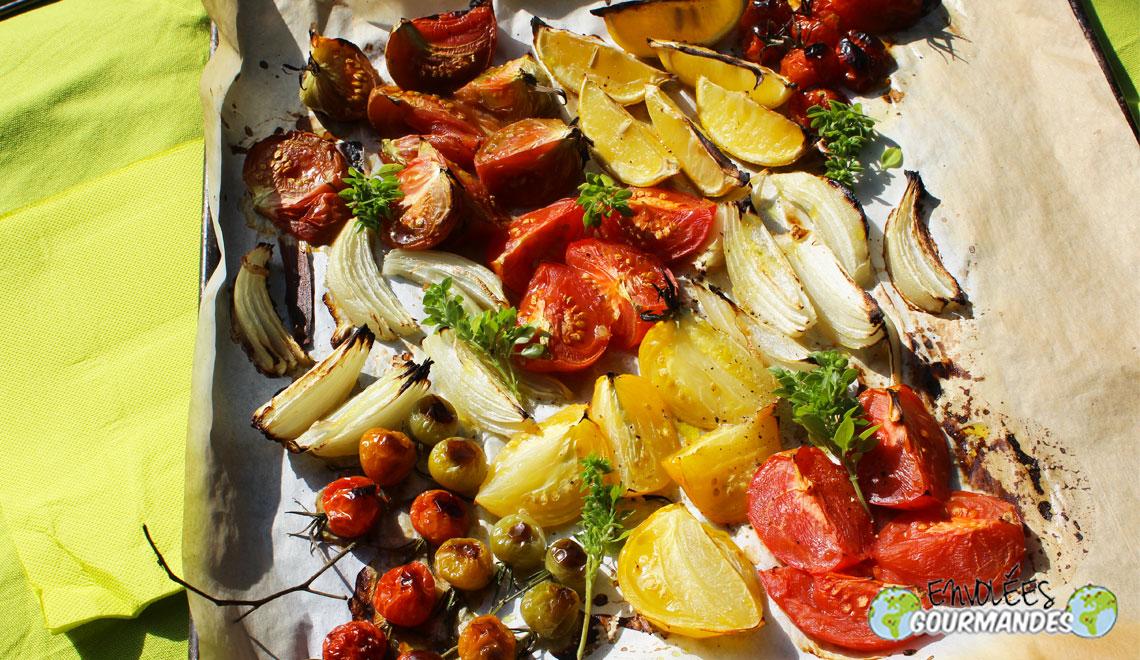Tomates grill es au four parfum es l huile d olive au basilic envol es gourmandes - Langoustes grillees au four ...