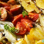 grilled baked tomatoes flavored with olive oil and basil