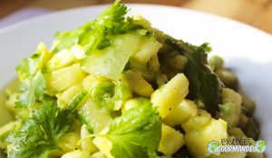 Pineapple, avocado and cucumber salad pepper Penja