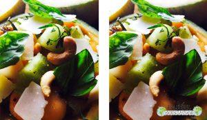 salada de melão duo com lascas de parmesão