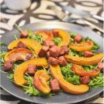 Salade tiède de courge rôtie et de ballotine grillée
