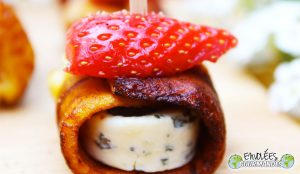 Bouchée de banane plantain au cœur de Fourme d'Ambert et son chapeau de Gariguette au poivre de Penja