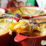 I miei Clafoutis di albicocche, banane e giardino di lavanda in minicocottes a sapori africani (glutine)
