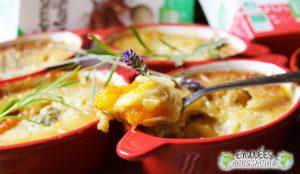 Meine clafoutis Aprikosen, bananes et lavande du jardin en minicocottes aux saveurs d'Afrique (Gluten)