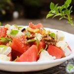 Wassermelone Salat 2 Käse und salzig Müsli Flügel Gourmet