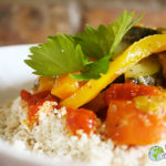 My grilled Gari couscous with vegetables and tomato sauce