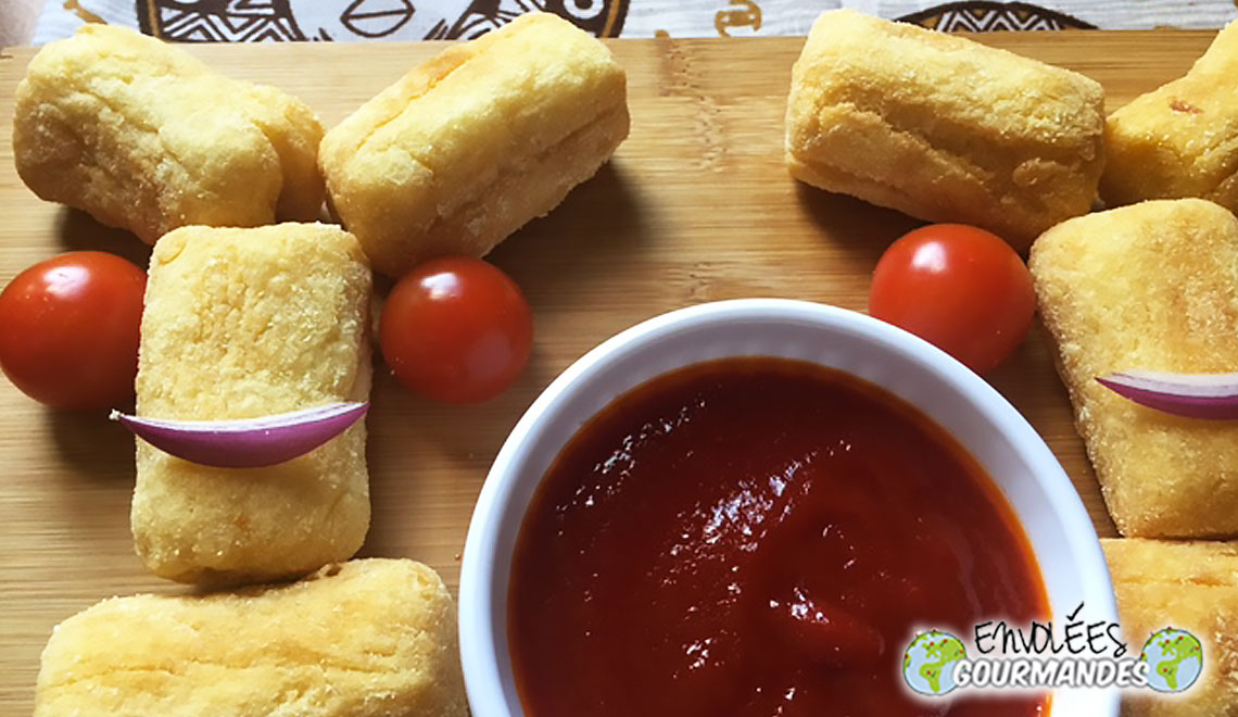 Corn yam croquettes and their homemade ketchup