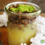 Verrine végétale de compote de pommes, missolè et moringa