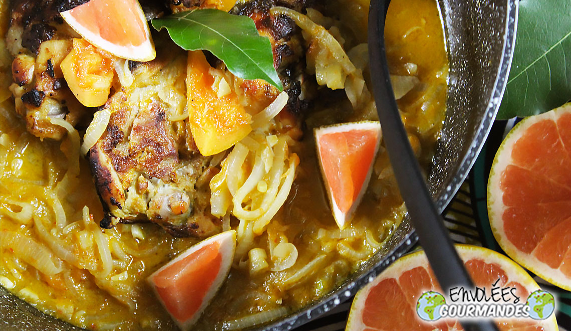 My chicken yassa with pomelo and homemade broth N ° 2