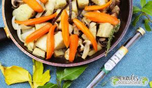 carrot, yam, mushroom, onion, icing, thyme, sugar, vanilla
