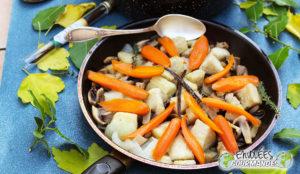 carrot, yam, mushroom, onion, icing, thyme, sugar, , vanilla, blanquette