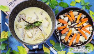 carrot, yam, mushroom, onion, icing, thyme, sugar, vanilla, blanquette